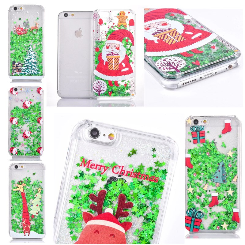 HereCase For Merry Christmas Cases For iPhone X Stars Dynamic Liquid Quicksand Case For iphone X 10  7 8 Plus with cartoon pic