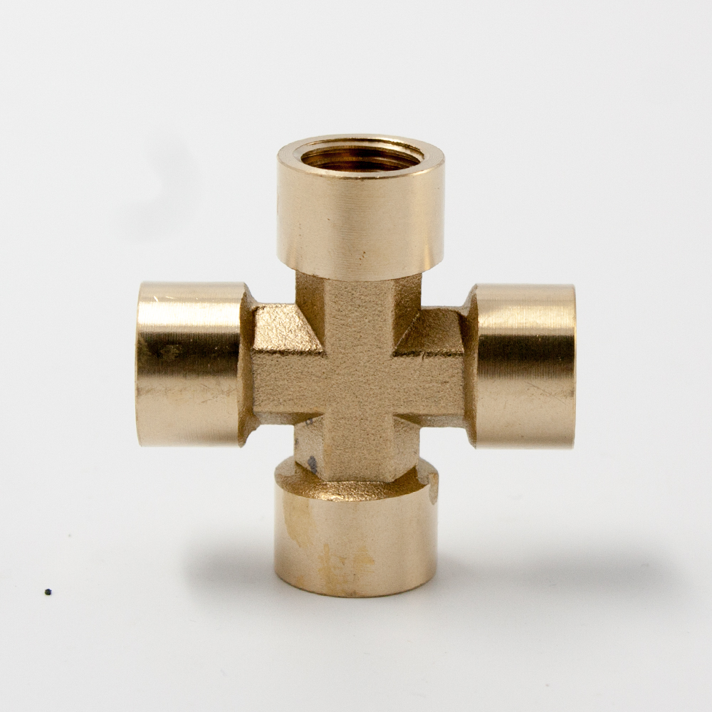 Legines Brass Pipe Fitting, Casting Equal Cross, Female Four-way , 1/4 3/8 1/2 BSP Thread (2 pcs)