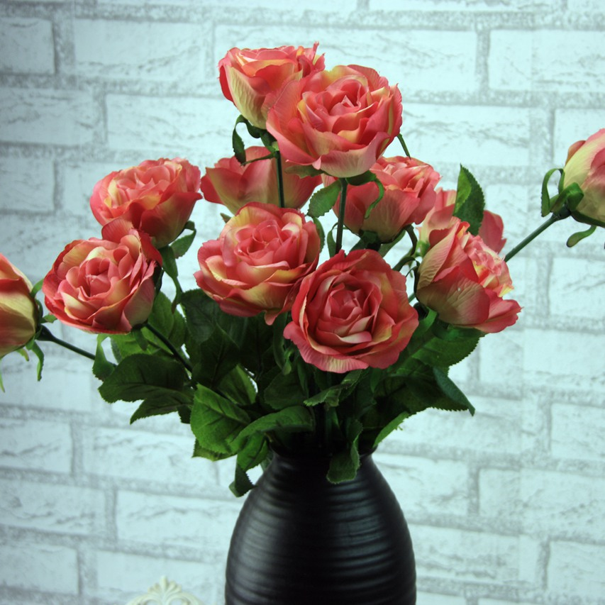 12pcs factory direct simulation single branch of roses silk flower 12pcs factory direct simulation single branch of roses silk flower wholesale trade export artificial flowers wedding plant dy 46 in artificial dried mightylinksfo