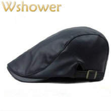 dfe347a59db which in shower women men blank PU beret adjustable autumn winter faux  leather plain flat cap vintage British style newsboy hat