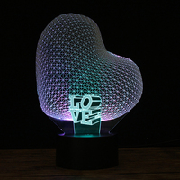 3D Love Heart Night Light Creative Romantic Unique Mixed Colorful RGB USB Led Luminous Wedding Xmas Lover Gifts Rgb tape