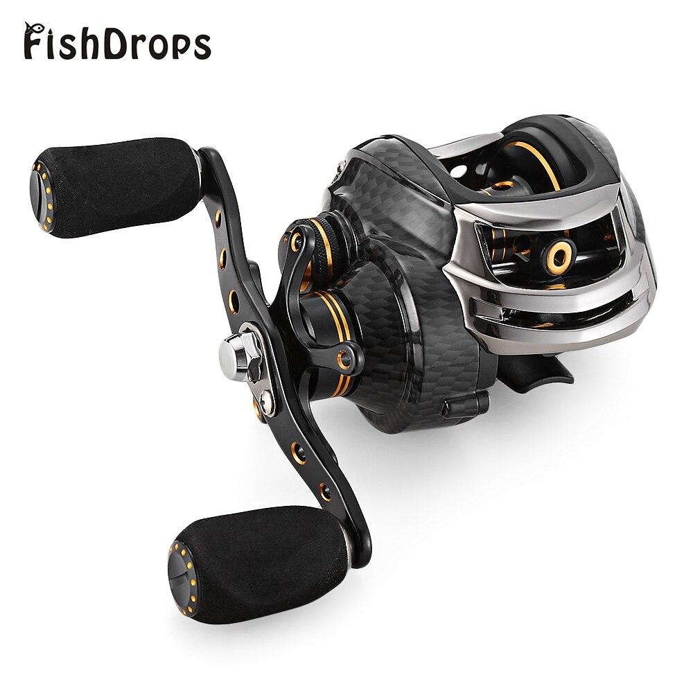 Vendita calda Fishdrops LB200 Bobina di Pesca GT 7.0: 1 Pesca Lancio Delle Esche Bobine Sinistra Mano Destra One Way Clutch Bobina di Baitcasting