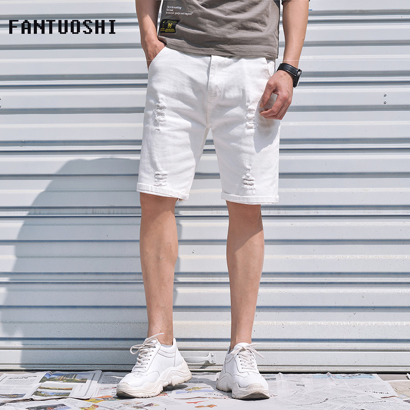 2019 New Men Brand Denim Shorts Summer Casual Stretch Slim Cotton High Quality Ripped Short Jeans Male Brand Large Size 42
