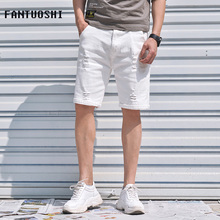 2019 New Men Brand Denim Shorts Summer Casual Stretch Slim Cotton High Quality Ripped Short Jeans Male Large size 42