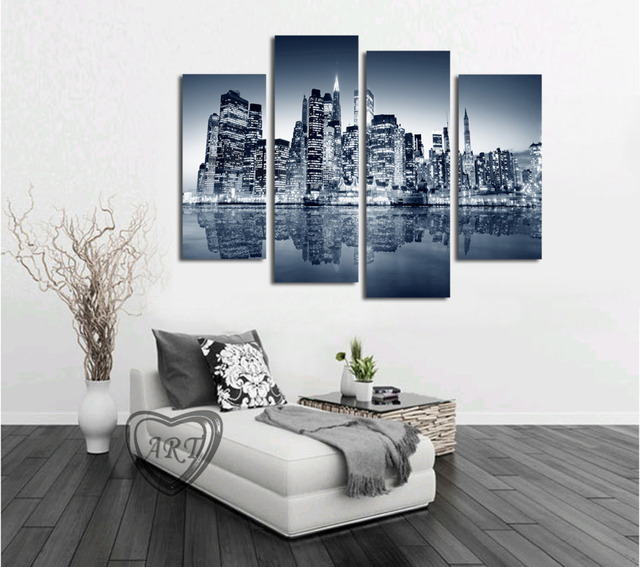 High Quality 4 Panels Home Decor Wall Art Painting Prints of City View Artwork Modern Canvas & High Quality 4 Panels Home Decor Wall Art Painting Prints of City ...