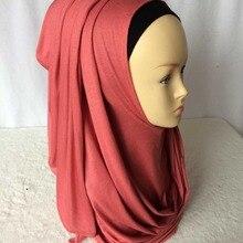 Модные красивые женские мусульманские трикотажные слипоны из хлопка, однотонный шарф, хиджабы Исламская повязка на голову шарфы, шали