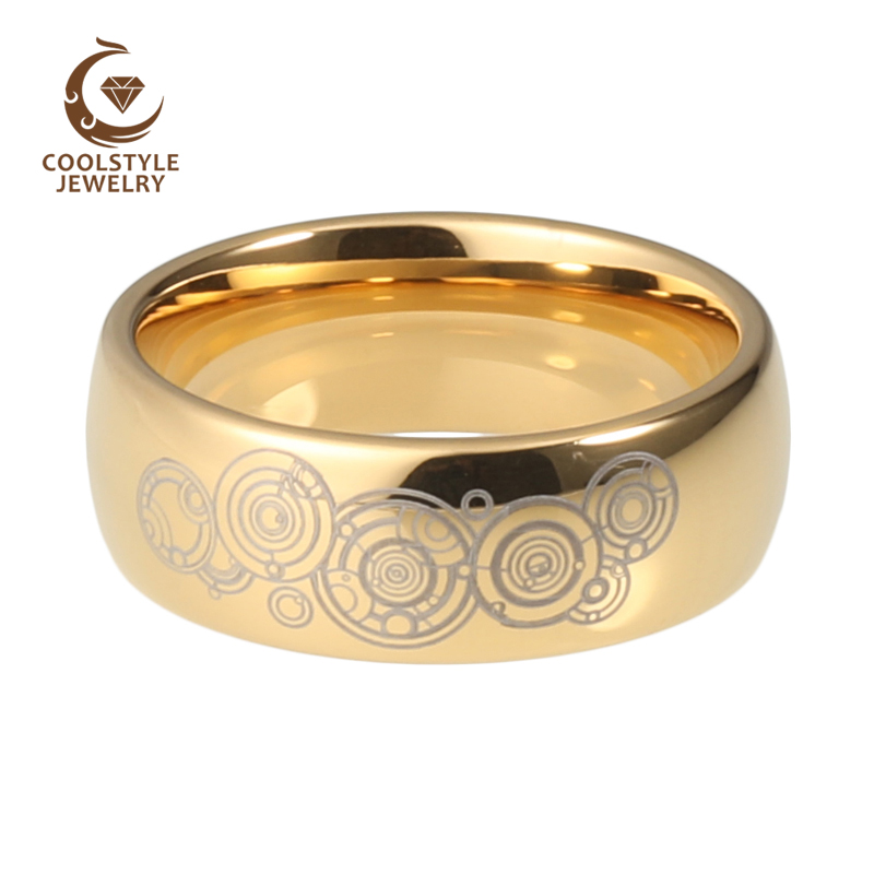 8mm Doctor Who Mens Womens Gold Color Tungsten Wedding Band