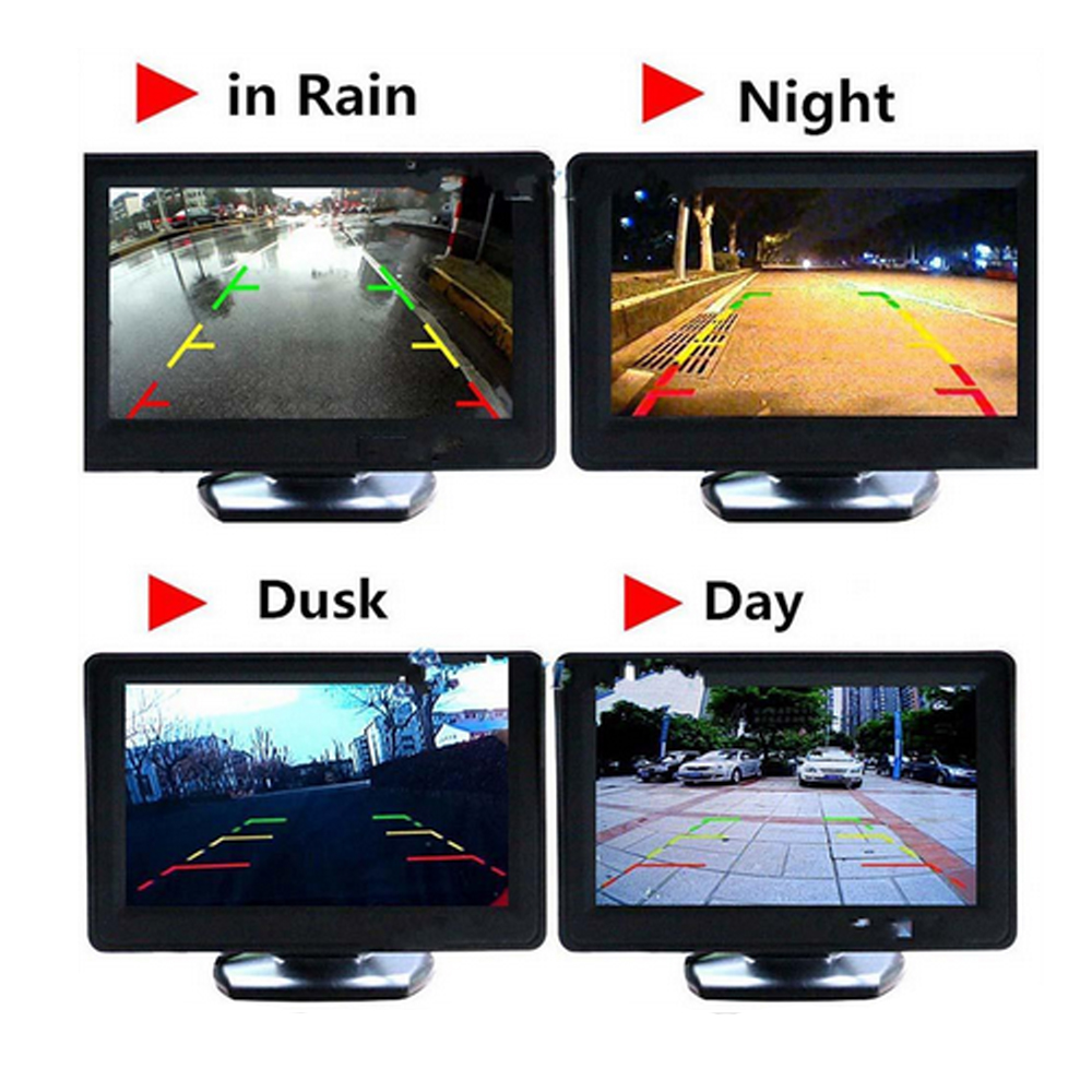 Podofo 4.3 Car Rearview Monitor Rear View Camera Color LCD TFT Auto Parking Assistance 4 LED Night Vision Reversing Car-styling