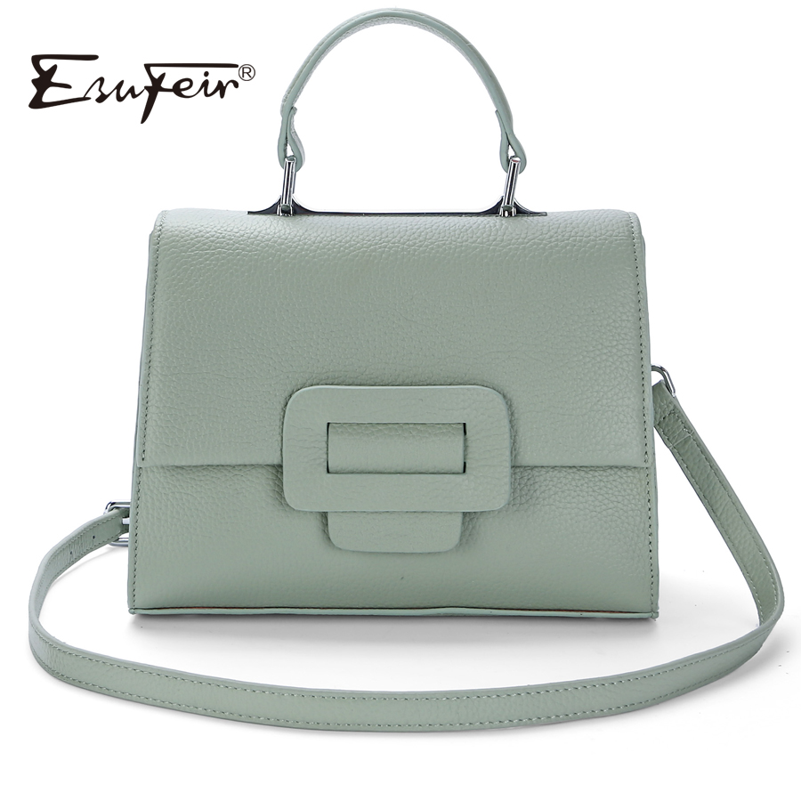 ESUFEIR 2018 Genuine Leather Women Handbag Belt Buckle Brand Designer Women Bag Single Shoulder Fashion Women Crossbody Bag