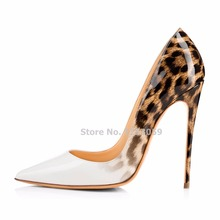 ALMUDENA White Black Snakeskin Leopard Patchwork Pointed Toe Pumps Stiletto Heel Mixed Color Wedding Shoes Party Shoes 12cm Heel