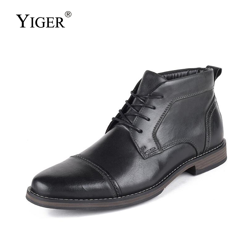 YIGER New Men martins boots ankle boots male genuine leather casual lace up winter warm boots