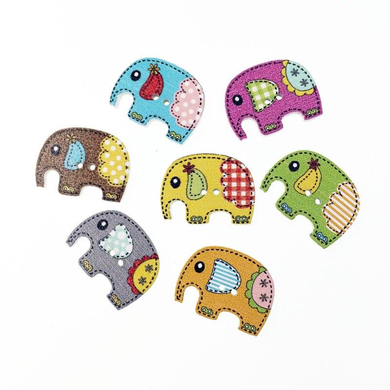 ③50 unids moda a granel mezclado elefante de madera botón Costura ...
