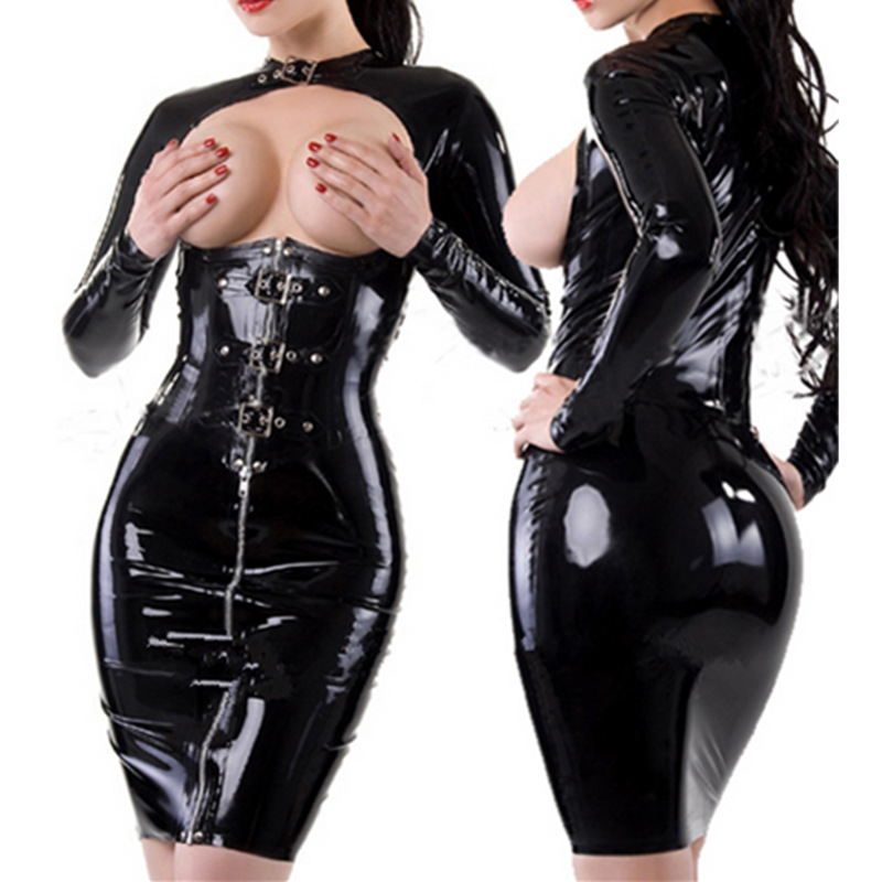 Buy women pvc spandex catsuit Sexy Tight Black latex dress exotic dresses Latex sexy dress latex dress Sleeve Teddies