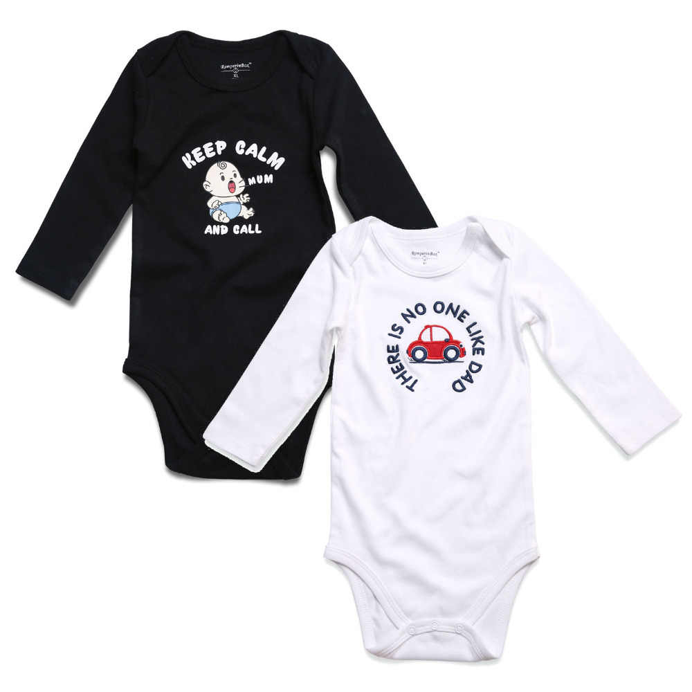 d2bbbf8f8 2PCS Black White Baby Boy Clothes Newborn Baby Rompers Long Sleeve ...