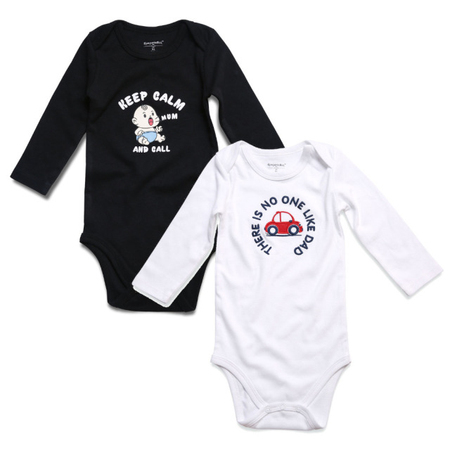 12d9f16c38aa 2PCS Black White Baby Boy Clothes Newborn Baby Rompers Long Sleeve ...