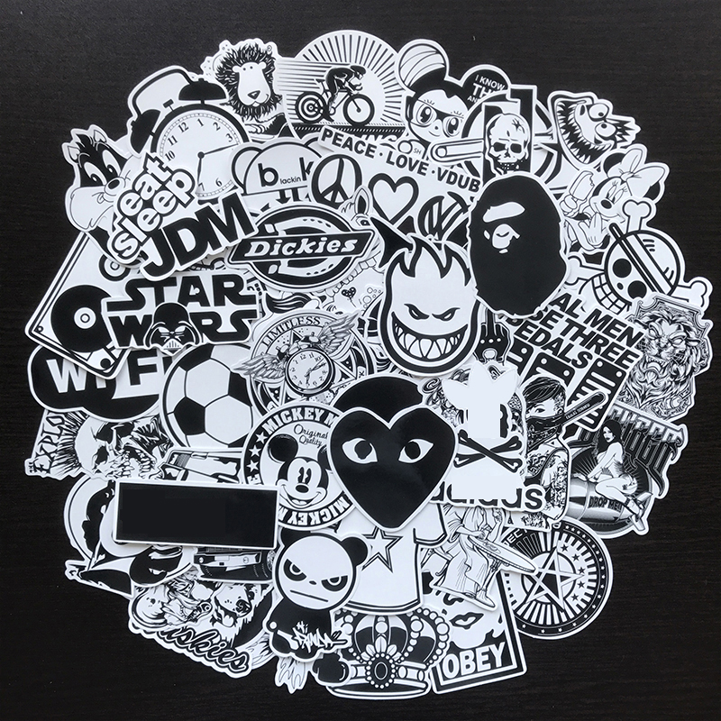 50Pcs/Lot Brand Tide Black White Stickers Vinyl Dope Sticker Graffiti Bomb Decals Pack Skateboard Luggage Laptop Bike Guitar Car