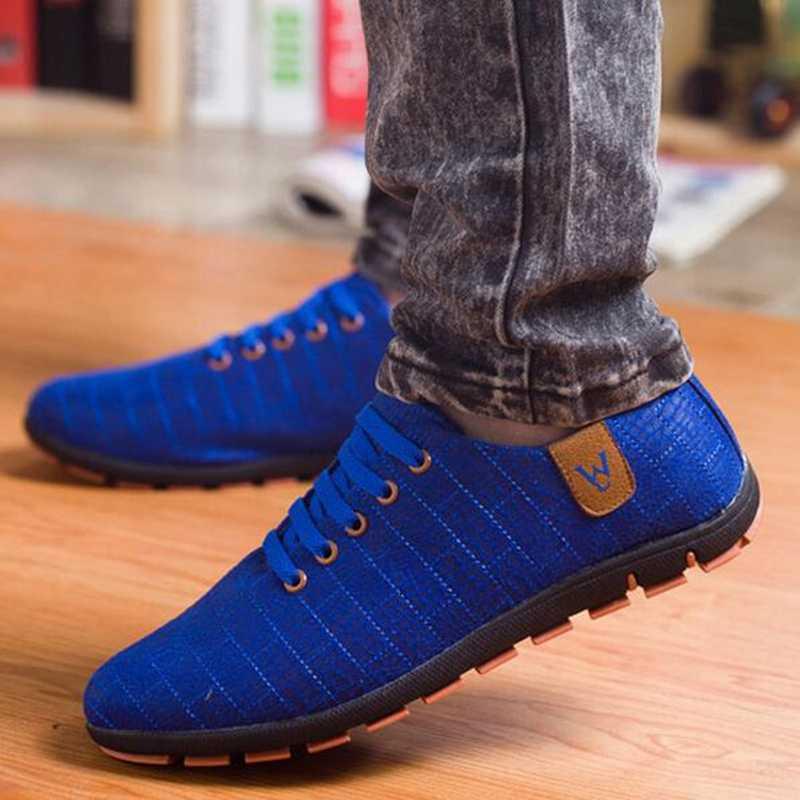 Dép Nam Giày Thời Trang Thấp Cột Dây Đi Bộ Giày Đế Bằng Thoáng Khí Chạy Bộ Nam Zapatillas Hombre