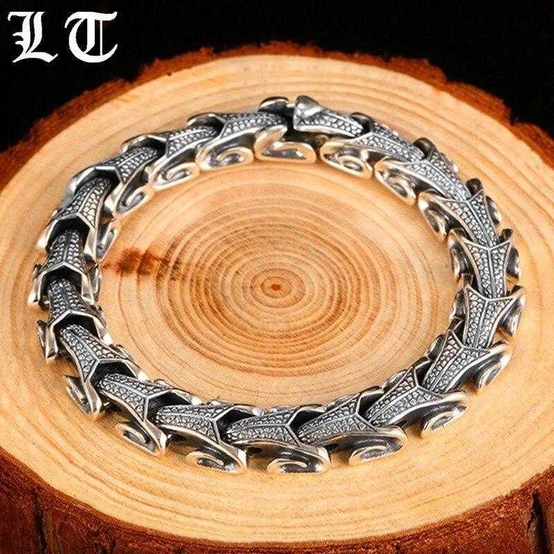 LT 925 пробы серебряный дракон браслет Для мужчин Настоящее серебро Киль Браслеты полированный Винтаж Punk Rock Байкер изделия для мужчин