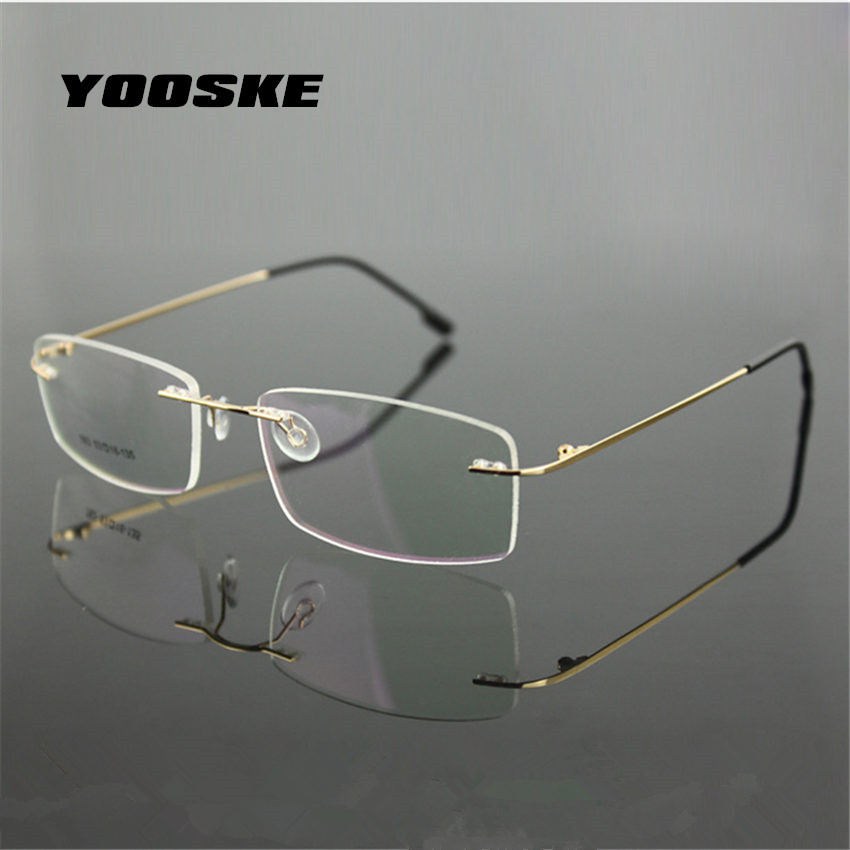 YOOSKE Klassische Business Herren Reinem Titan Brille Rahmen Myopie ...