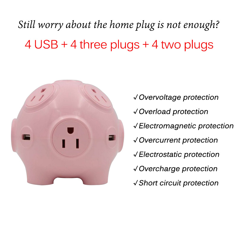 Smart Home Plug Holder EU US Plug Socket 4 USB Ports 8 Outlet Wall Socket Cute Multi Switched Extension Power Strip Adapter   (3)