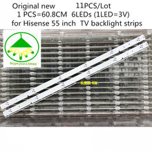 11 PCS/Lot Original new TV LED Strip for Hisense LED55K20JD 55 inch 6LED TV backlight strips 608mm SVH550AB1 6LED REV0 131030(China)