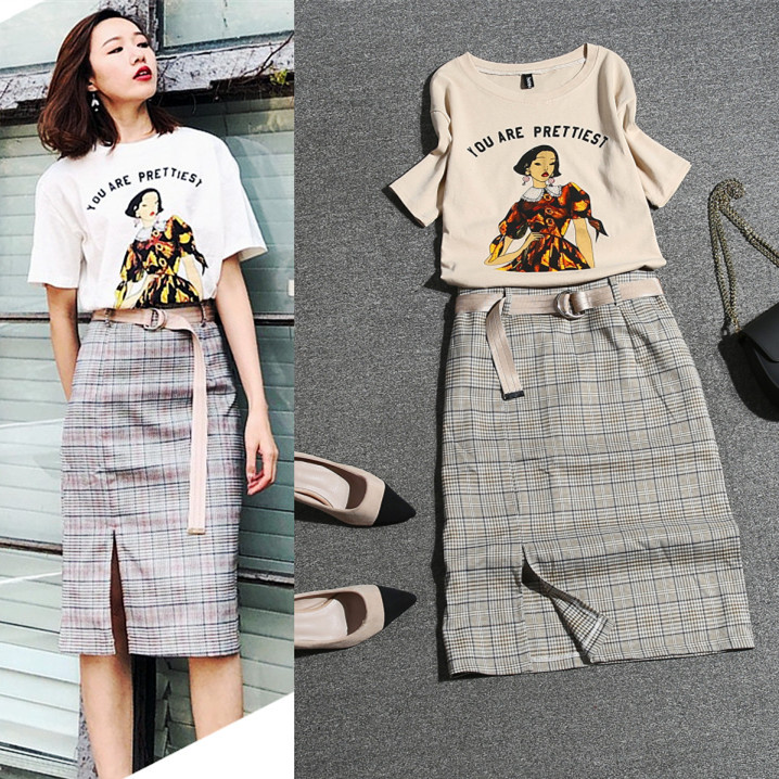 With Sashes! Women's Summer Skirts Suits Short Sleeve Ladies Print Tees Blouse And Plaid Knee Length Cut Skirt Suits Set NS243