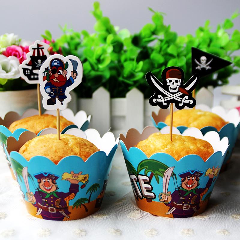 unids serie pirata acolchados para nios fiesta de cumpleaos decoracin de envolturas de la magdalena