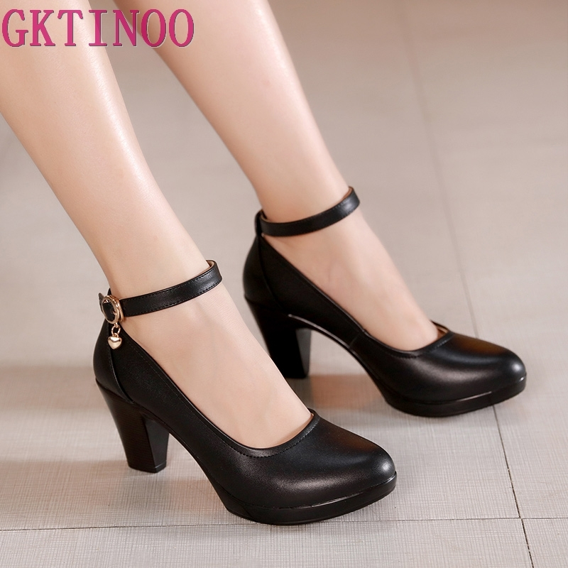 GKTINOO Genuine Leather Shoes Women Round Toe Pumps Sapato Feminino High Heels Shallow Fashion Black Work Shoe Plus Size 33-43