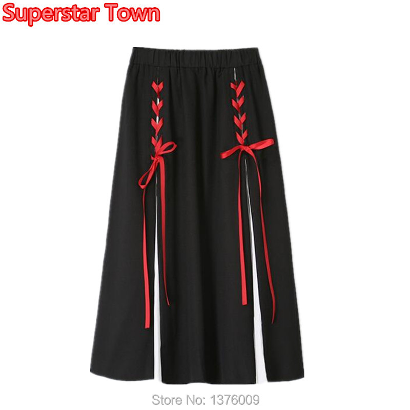 Superstar Retro Patchwork Chiffon Skirt Vintage Bandage Punk A Line Skirts Women Girls Student Lovely Costume