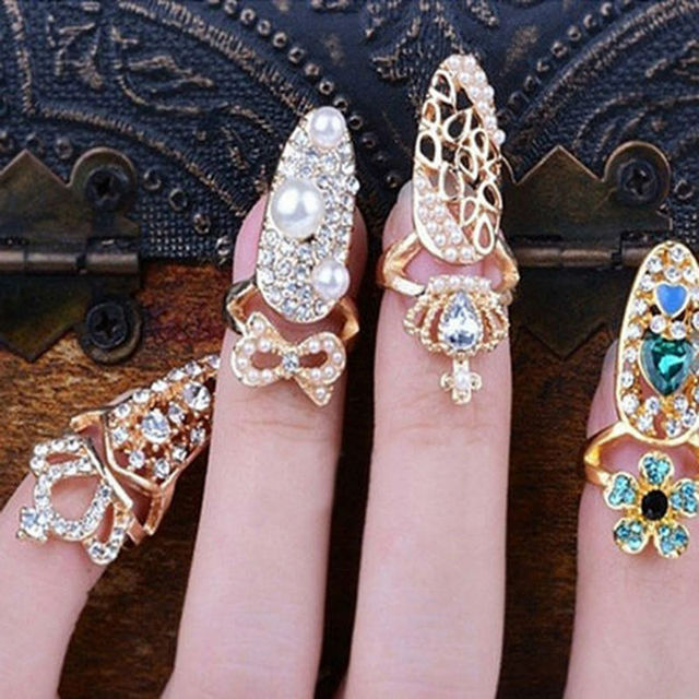 Hot Fashion Crown Bowknot Crystal Finger Nail Art Rings Women Girls Golden Flower Heart Armor Joint Tail Ring Jewelry For Party