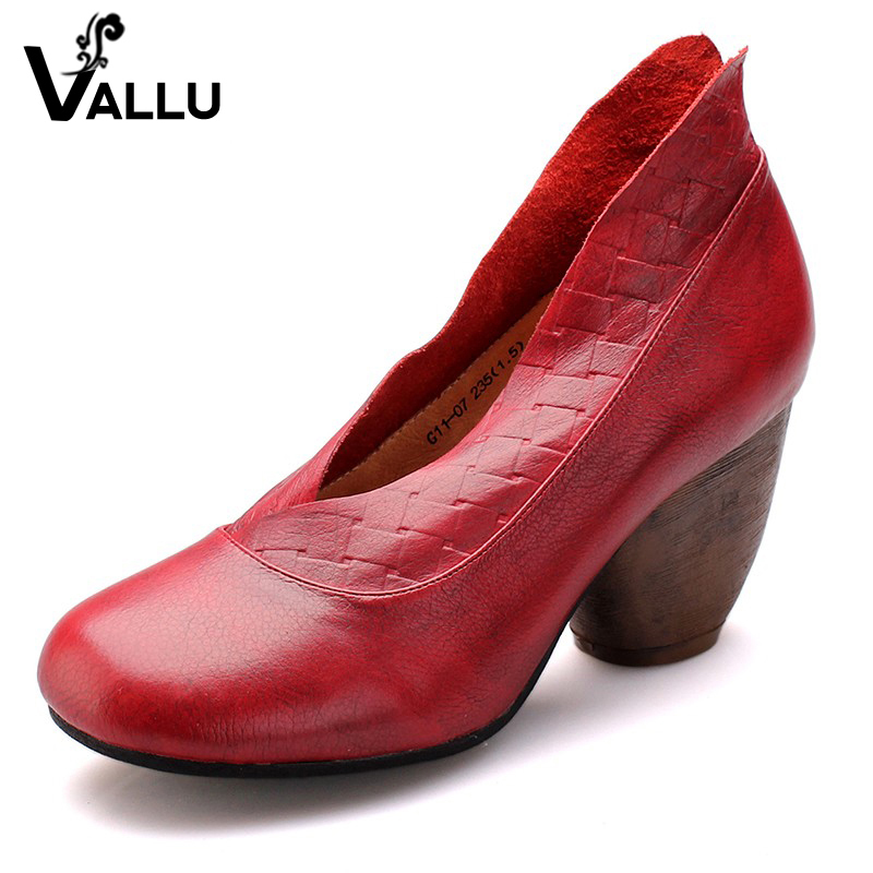 2018 Retro Style Handmade Shoes Women Chunky Heel Pumps Round Toe High Heels Genuine Leather yaerni 2017 retro style women shoes flats platform handmade flower genuine leather thick heels round toe women causal shoes