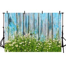 Vinyl Photography Background Spring Wildflower Green Plant Light Blue Fence Sunlight Floral Children Backdrop Photo Studio
