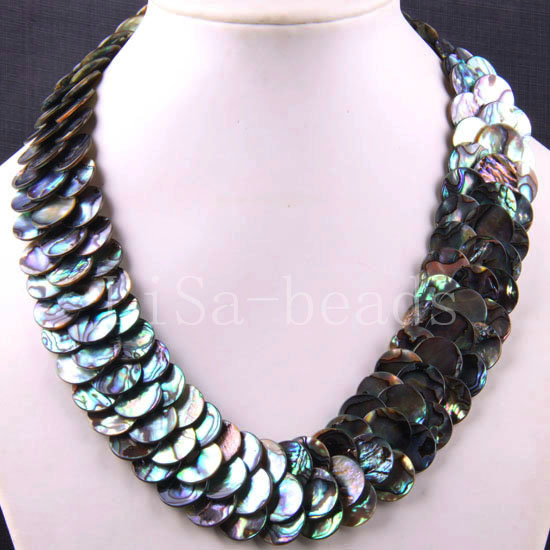 Free Shipping New without tags Fashion Jewelry Blue Natural New Zealand Abalone Shell Necklace 20