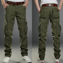 Мужские брюки карго армейского зеленого цвета с большими карманами, мужские повседневные брюки, легко моющиеся мужские осенние армейские брюки размера плюс 40, новинка 2019