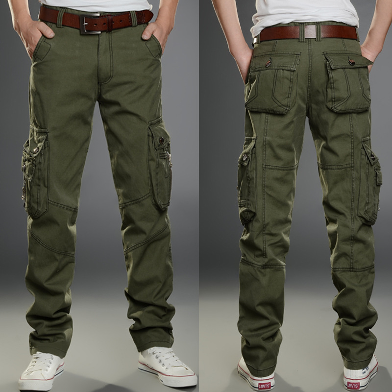 2019 New Men Cargo Pants Army Green Big Pockets Decoration Mens Casual Trousers Easy Wash Male Autumn Army Pants Plus Size 40