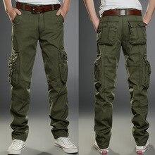 2019 nowe męskie spodnie bojówki zieleń wojskowa duże kieszenie dekoracje męskie spodnie typu casual łatwe pranie męskie jesienne spodnie wojskowe plus rozmiar 40