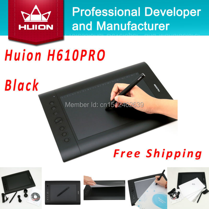 Hot Sale Huion H610 PRO Digital Tablets Kids Pen Tablet Art Drawing Designer Graphics Tablets PC Laptop For Windows Mac OS Black