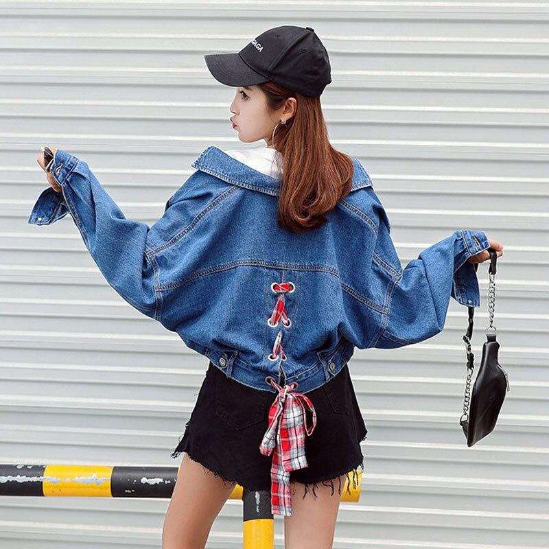 Autumn Winter New 2018 Women Jean Coat Jacket Back Lace Up -3307