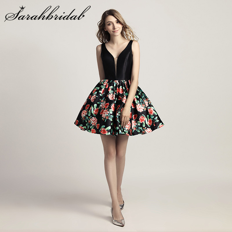 Cheap Short Cocktail Dresses Black Sexy Backless Fashion Prom Party Gowns Vintage Floral Print Real Photos LX434