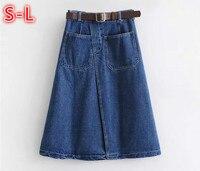 Casual A Line Skirts Women Vintage High Waist Slim Thin Women Denim Skirts With Pocket Preppy