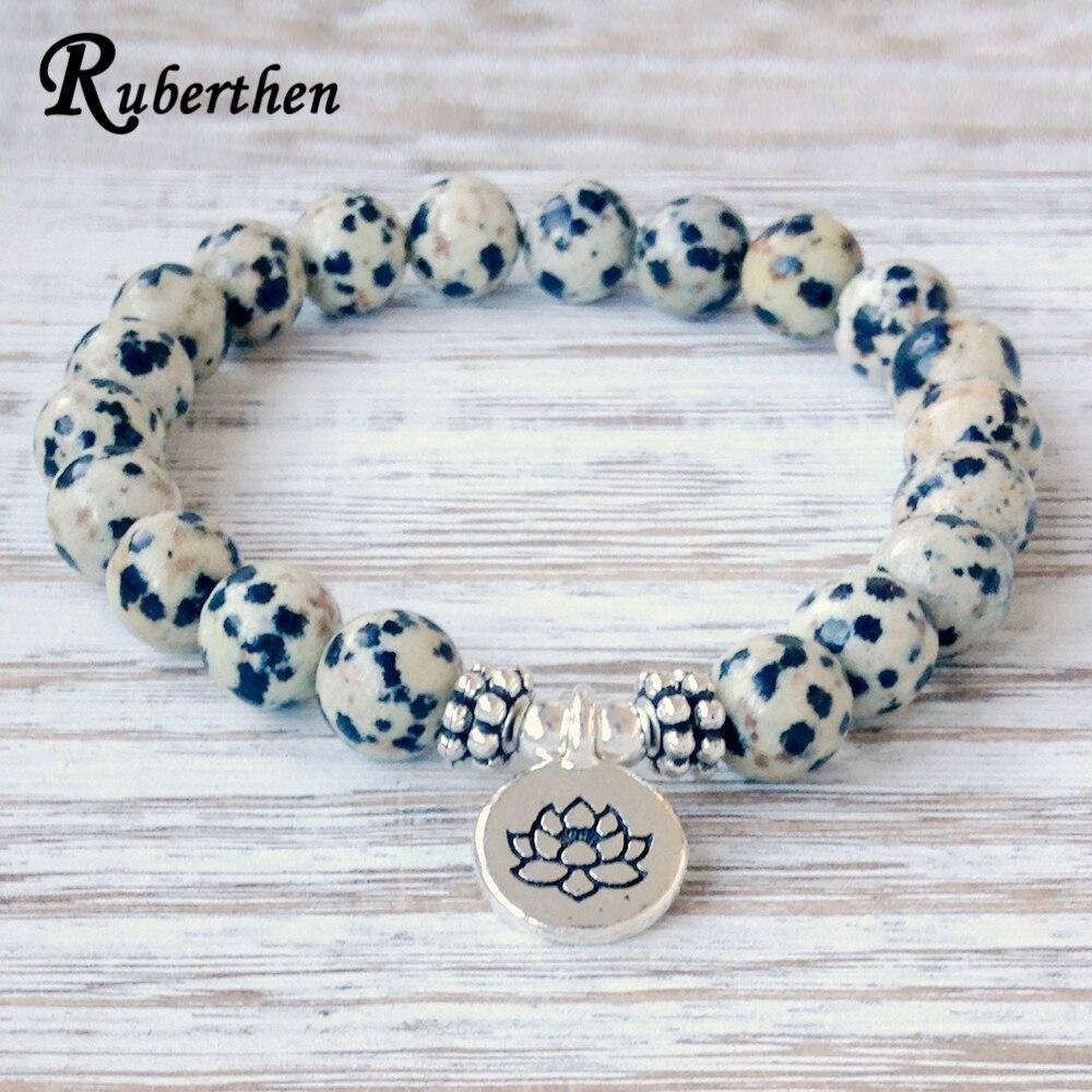 Ruberthen New Arrival Design Dalmatian Natural Stone Bracelet Men`s Wrist Mala Beads Jewelry Solar Plexus Bracelet Free Shipping