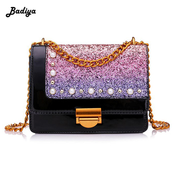 Luxury Women Square Shoulder Bags Chains Strap Sling Bags Phone Case Clutch Sequins Bags with Hook
