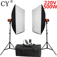 Photography Studio Soft Box Flash Lighting Kit 500W 220V Flash Light Softbox Light Stand 2 Photo