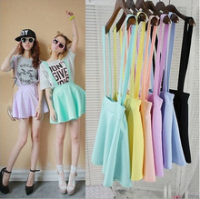 2016 Asian fashion cotton candy skirt women in summer,yellow high waist suspenders short cute violet colors  2 ways