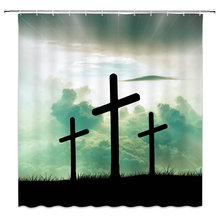 Jesus Bathroom Decorative Curtain Shower Waterproof Moisture Proof Polyester Fabric Christian Family Bath Products
