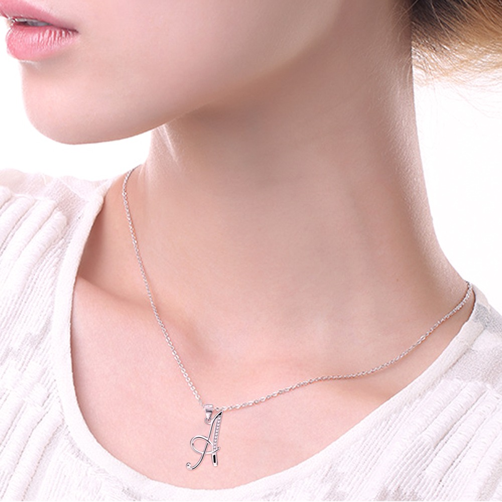 New Arrival Promotion 925 Sterling Silver 26 Capital Letters Crystal Pendants Necklaces Popular 925 Jewelry Necklace For Women in Pendant Necklaces from Jewelry Accessories