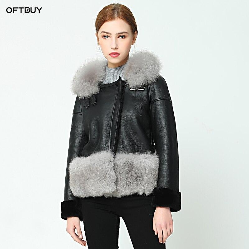 OFTBUY 2019 nouvelle veste hiver décontracté manteau femmes Double-face manteau De Fourrure Avec Fox col de fourrure véritable veste en cuir chaud Laine Doublure