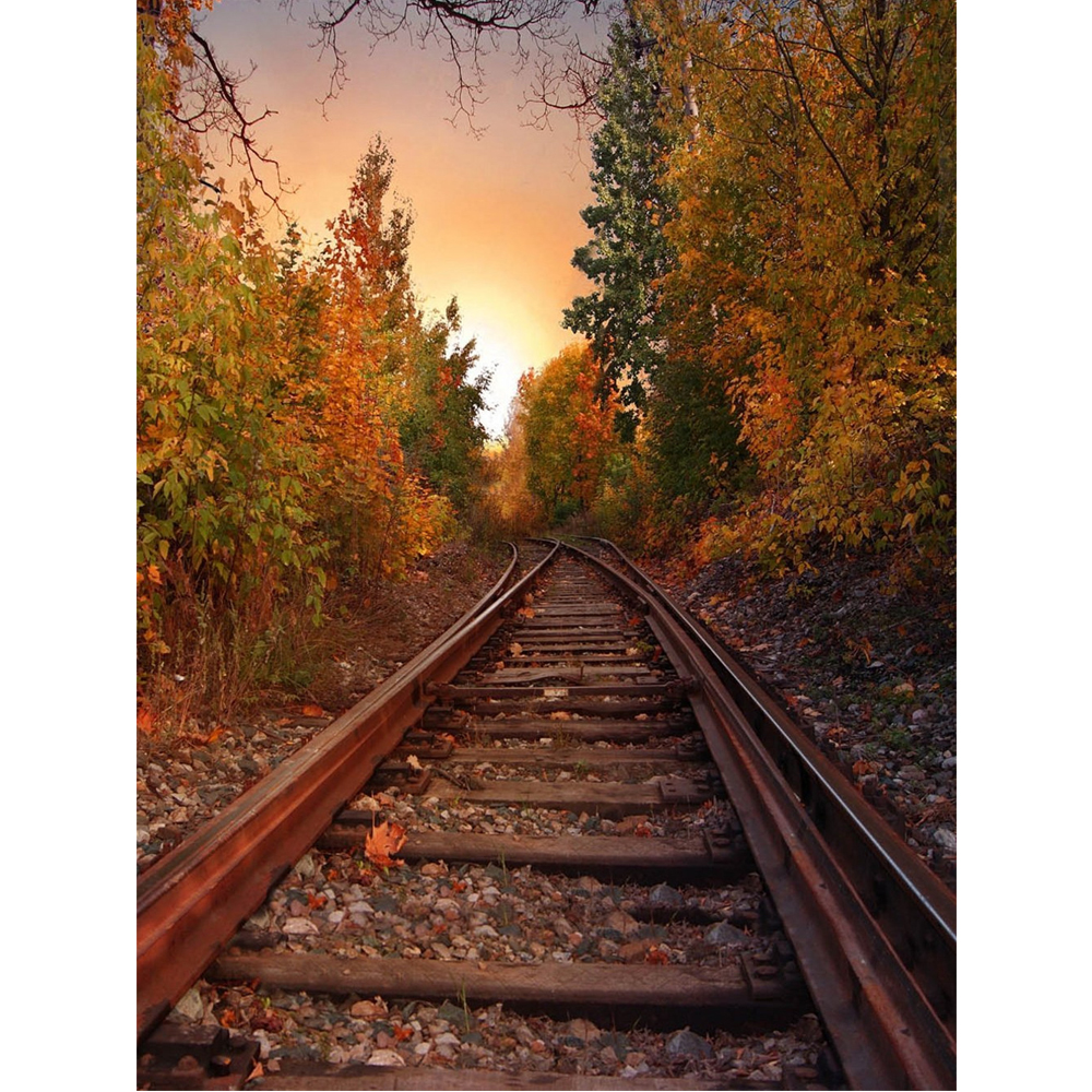 Railway Photography Background Countryside Forest Trees Outdoor Autumn Nature View Kids Fall Scenic Photo Studio Backdrops Vinyl