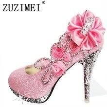 2f36f62c6f6bfa 2018 Glitter Magnifique Mariage Nuptiale Parti Cristal Soirée Talons hauts  Femmes Chaussures Sexy Femme Pompes Mode