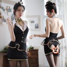 963f38290 Nuevo auxiliar de vuelo papel vestido erótica mujer Cosplay traje uniforme  lencería Sexy hueco Porno azafata ropa interior